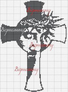 Schemi punto croce - Croce Religious Cross Stitch Patterns, Cross Patterns, Crochet Chart, Filet Crochet, Cross Stitch Charts, Cross Stitch Designs, Cross Stitching, Cross Stitch Embroidery, Jesus On The Cross