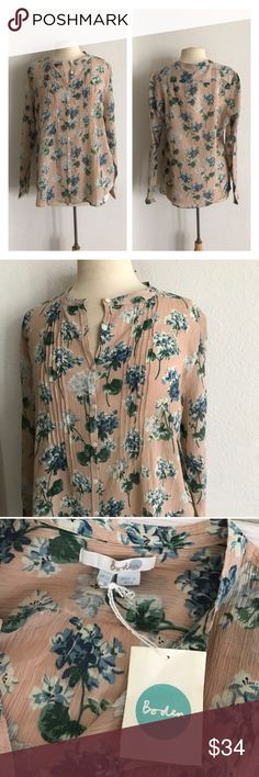 """Boden floral button down Boden floral button down. Size 16. Measures 29"""" long with a 44"""" bust. Would be great for a 14/16 (I'm a 16/18 and it fit great overall, but was slightly snug in the bust). Semi stretchy. Lightweight. Brand new with tags. Reasonable offers accepted  ✅Bundle offers Boden Tops Button Down Shirts"""