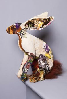 Frederique Morrel has a mission to rescue the dying art of embroidery by giving it a contemporary twist. I think hares are so much more beautiful than rabbits. Sculpture Textile, Soft Sculpture, Rabbit Sculpture, Fabric Art, Fabric Crafts, Fabric Birds, Faux Taxidermy, Bunny Art, Textiles