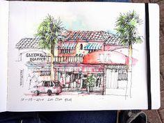 urban sketchers texas: Sketching at Las Olas Blvd, Fort Lauderdale