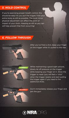 Shooting is invaluable for both hunting and self-defense, but it takes practice. This infographic from the NRA shows some pistol shooting fundamentals. Self Defense Tips, Self Defense Techniques, Home Defense, Assassins Workout, Pistol Shooting Tips, Target Practice, Street Fights, Shooting Range, Hunting Blinds