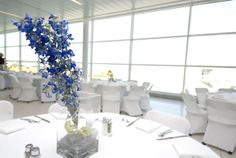 Blue #delphinium in a rectangle vase. #JPParkerFlowers #FlowerPower http://www.jpparkerco.com/gallery/special-events/