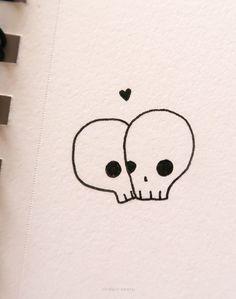 15 Easy Skull Drawing Ideas Easy Skull Drawings, Doodle Drawings, Art Drawings Sketches, Cute Drawings, Very Easy Drawing, Profile Drawing, Doodle Pages, Simple Acrylic Paintings, Easy Watercolor
