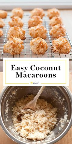 How To Make the Best Coconut Macaroons As long as you have some shredded coconut in your pantry and a few eggs in the fridge, a batch of sweet macaroons can be yours in less than half an hour. - Coconut Macaroons Recipe - How To Make Macaroons Macaroon Cookies, Coconut Cookies, Gluten Free Coconut Macaroons, Coconut Macarons Recipe, Coconut Deserts, Coconut Candy, Coconut Cupcakes, Shortbread Cookies, Baking Recipes