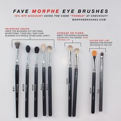 """All my favorite @morphebrushes eye brushes! I use these literally every single day I do my makeup. I've had most of these for about a year now and they haven't failed me yet. ___ DISCOUNT: 10% OFF using the code """"THOMAS"""" at online checkout or at the Morphe Brushes store! ____ BLENDING E27 M330 M505 M441 M513 ____ CREASE: M433 - which is a duo for the MAC 217 brush and costs more than half the price of the MAC one. ___ LID COLOR: M224 G20 ____ So happy I'm finally able to share a discount…"""