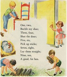 Vintage Illustration - One Two Buckle My Shoe - Mother Goose Nursery Rhymes Nursery Rhymes Lyrics, Old Nursery Rhymes, Poems For Nursery, Classic Nursery Rhymes, Rhyming Preschool, Nostalgia, Pomes, Rhymes Songs, Kids Poems