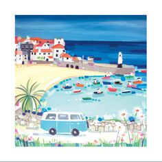 St Ives camper van card by Janet Bell Painting Inspiration, Art Inspo, Beach Illustration, Book Illustration, Bell Art, Coastal Art, St Ives, Pebble Painting, Naive Art