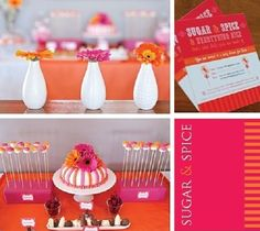 Hot Pink and Orange baby shower