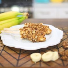 Via @blogilates on Instagram:  Time to make banana pops for snacks! Just cut your banana in half, slather it with peanut butter, and roll it in granola! Boom. DONE!!!! Who wants some!? #cheapcleaneats #blogilates