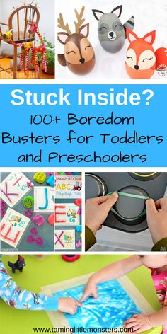 Are you stuck inside? Check out this list of simple indoor activities for toddlers and preschoolers. You can use them for rainy days or summer holidays. There are 100 arts and crafts, science experiments, sensory activities, free printable and more. Rainy Day Activities For Kids, Indoor Activities For Toddlers, Toddler Learning Activities, Sensory Activities, Infant Activities, Kids Learning, Children Activities, Toddlers And Preschoolers, Toddler Play