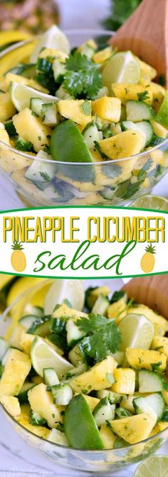 This perfectly refreshing Pineapple Cucumber Salad is wonderfully easy to make a. This perfectly refreshing Pineapple Cucumber Salad is wonderfully easy to make and simply delicious! Great for summer BBQs, parties, potlucks and more! // Mom On Timeout Lime Salad Recipes, Cucumber Recipes, Cucumber Salad, Recipes For Cucumbers, Pinapple Salad, Cucumber Ideas, Pineapple Recipes, Pineapple Diet, Cucumber Smoothie