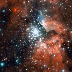 Dieses Hubble-Bild zeigt den gigantischen Nebel NGC 3603. Er besitzt die größte Häufung von Riesensternen unserer Milchstraße