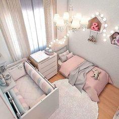 Smart Nursery Ideas: Sharing a Room with Baby Shared Room Kinderzimmer Ideen Baby Bedroom, Baby Room Decor, Girls Bedroom, Nursery Decor, Gray Baby Rooms, Room Baby, Trendy Bedroom, Sister Room, Toddler Rooms