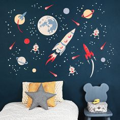 Wall stickers: 10 gorgeous design ideas blue scheme kids bedroom with space themed wall from koko kids Modern Kids Bedroom, Kids Bedroom Designs, Kids Room Design, Bedroom Boys, Kid Bedrooms, Bedroom Themes, Bedroom Decor, Bedroom Ideas, Space Theme Bedroom