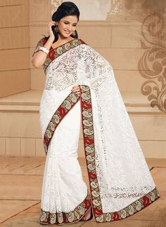 Latest Off White Net Brasso Georgette Patch Border Work Saree, Product Code : 3345, Shop Now : http://www.sareesaga.com/latest-off-white-net-brasso-georgette-patch-border-work-saree-3345  Email :support@sareesaga.com, What's App or Call : +91-9825192886