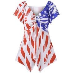 Patriotic American Flag V Neck Swing T Shirt ($14) ❤ liked on Polyvore featuring tops, t-shirts, american flag top, v neck tee, usa flag t shirt, american flag t shirt and v-neck tee