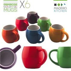 Primrose Colorful Mugs by Madero Kitchen - Set of 6 Ceramic Coffee Mugs Small Mouth 14oz - 100% Secure Packaging - Keep Liquid Hot for Longer * Trust me, this is great! Click the image. : Coffee Mugs