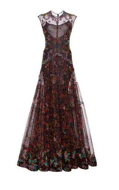 Blossom Tulle Pleated Gown by Zac Posen for Preorder on Moda Operandi