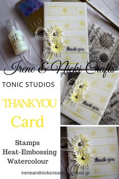 Hi everyone, we're sharing a Thank You Card today. It has a light and airy spring feel to it with the white embossing, yellow watercolouring and the stamped, fussy cut flowers. Cut Flowers, Craft Kits, Irene, Thank You Cards, Studios, Paper Crafts, Stamp, Magazine, Yellow