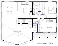 contemporary floor plan - House Plans Online