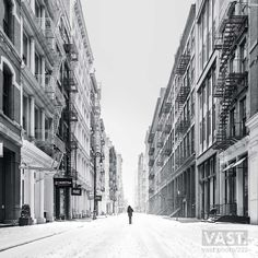 141 megapixels! A very high definition, large-format VAST photo print of Mercer Street in SoHo in NYC in winter snow; black and white fine art street photo created by Dan Piech in New York City