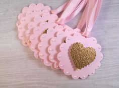 12 Gold Heart Gift Tags Pink and Gold Gift Tag by AngelsofHeaven