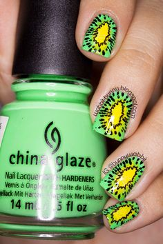Nail art by wabbit-bunny: Kiwifruit Nail Art