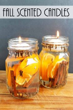 Fall Candles: Make These for Fall Scents : Make these fall candles for your home in just minutes! Make these fall candles for your home in just minutes! Make these fall candles for your home in just minutes! Fall Candles, Mason Jar Candles, Floating Candles, Diy Candles, Scented Candles, House Candles, Fall Candle Centerpieces, Cactus Candles, Fall Mason Jars
