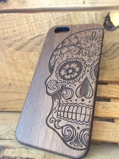 Wooden Phone Case - Sugar Skull - iPhone 5, 6, 6s,