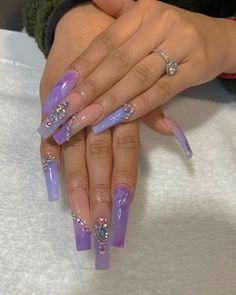 Purple April 15 2020 at nails Purple Acrylic Nails, Lilac Nails, Long Square Acrylic Nails, Best Acrylic Nails, Square Nails, Purple Nail Designs, Cute Acrylic Nail Designs, Long Nail Designs, Swarovski Nails
