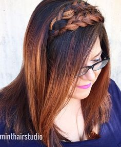 medium ombre hair with two headband braids