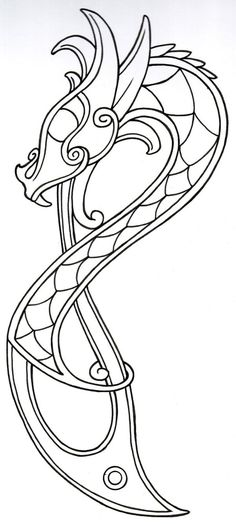 Viking Dragon Outline2 by ~vikingtattoo on deviantART