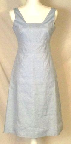 J.Crew Dress 8 Petite Blue Sleeveless Lined #Summer Sheath Crisp Cotton  #JCREW #ebay