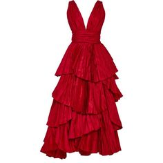 Oscar de la Renta Tiered Pleated Silk Gown ($7,990) ❤ liked on Polyvore featuring dresses, gowns, gown, red, plunging neckline dress, silk evening dresses, plunge-neck dresses, silk gown and red pleated dress