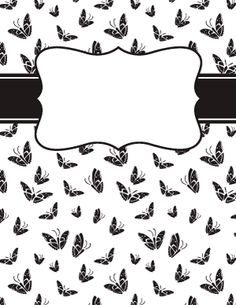Black and White Butterfly Binder Cover