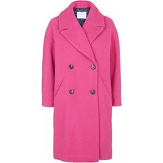 TOPSHOP **Premium Piled Wool Coat ($330) ❤ liked on Polyvore featuring outerwear, coats, bright pink, double breasted coat, double-breasted wool coat, pink oversized coat, wool coat and woolen coat