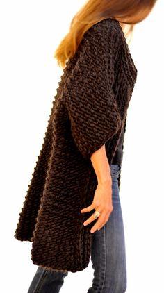 The Reluctant Hooker ~ Knit 1 LA, Tunisian crochet big coat, super bulky yarn