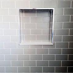 Grey Subway Tile Shower Niche Ideas Tile Shower Niche, Subway Tile Showers, Bathroom Niche, Bathtub Tile, Bathroom Remodeling, Remodeling Ideas, Master Bathroom, Bathroom Ideas, Bathroom Canvas