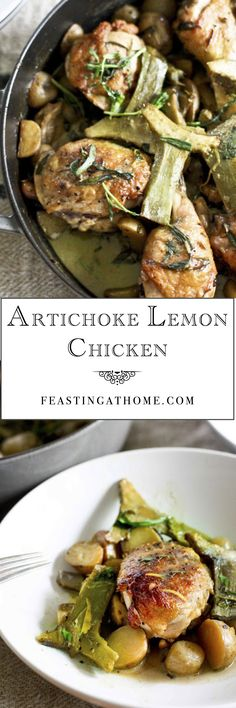 Delicious Artichoke Lemon Chicken...a special dinner you will want to make over and over. #artichoke #chicken #braised http://www.feastingathome.com/2013/05/chicken-with-braised-artichokes-leeks_16.html