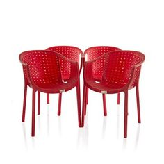Buy Varmora Designer Chair Set of 4 (Ola Netted - Red) By HOMEGENIC by undefined, on Paytm, Price: Rs.8520?utm_medium=pintrest