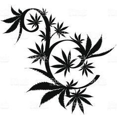 Vector cannabis leaf silhouette on white background. Marijuana Art, Marijuana Leaves, Cannabis Plant, Element Tattoo, Marihuana Tattoo, Weed Tattoo, Arte Dope, Arte Black, Tatoo
