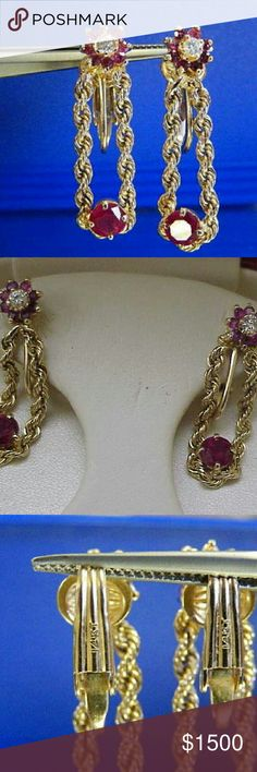Estate 14k gold 1.50ct Diamonds Rubies  earrings Non - pierced  lever backs earrings. Measures 2 9mm long. Stamped 14k. Weight 6gr. Each earring has .10ct diamond, 8 -.03ct each natural Ruby plus .50ct natural ruby. Jewelry Earrings