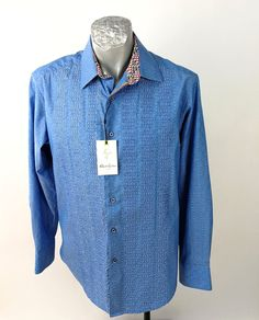Robert Graham Blue Embroidery Wedding Champagne Sz M New Denim Button Up, Button Up Shirts, Wedding Champagne, Robert Graham, Collar And Cuff, Online Price, Fancy, Shirt Dress, Embroidery