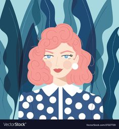 Portrait a girl with pink hair vector image on VectorStock Girl With Pink Hair, Pink Girl, Hair Vector, Vector Art, Blue Plants, Plant Background, Vector Portrait, Blue Backgrounds, Art Images