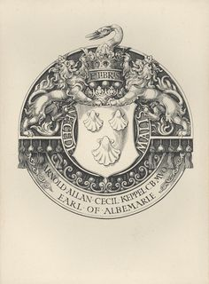 Armorial Bookplate of Arnold Allan Cecil Keppel, Earl of Albemarle