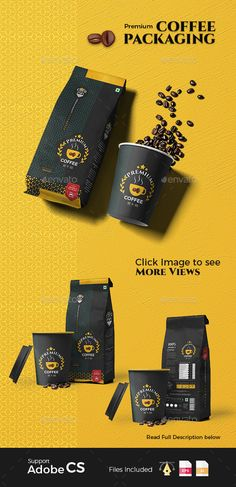 Premium #Coffee packaging - #Packaging Print Templates Download here: https://graphicriver.net/item/premium-coffee-packaging/20300140?ref=alena994