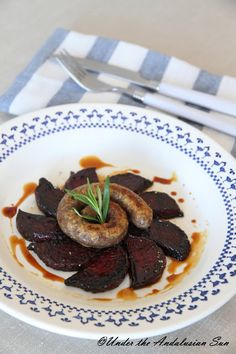 Herby lamb sausage with fried beets