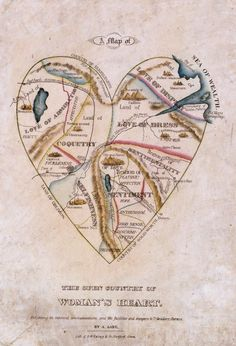 """Found an awesome site showcasing vintage art! This is a """"Map of a Woman's Heart."""" How divine!"""