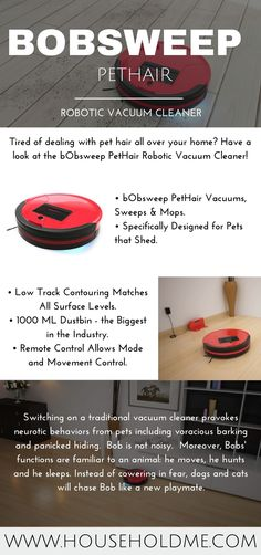 bObsweep PetHair Robotic Vacuum Cleaner infographic  Buy on Amazon: http://amzn.to/2bOPqc4 (Affiliate)  #bobsweep #bobsweeppethair #robotvacuum #botvac #bob #robot #householdme #cleaning #fastcleaning #cleaner #sweep #redvacuum