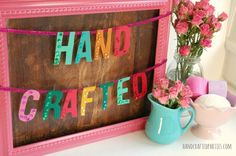 DIY sequined felt word garland for parties or home decor  {Handcrafted Parties}